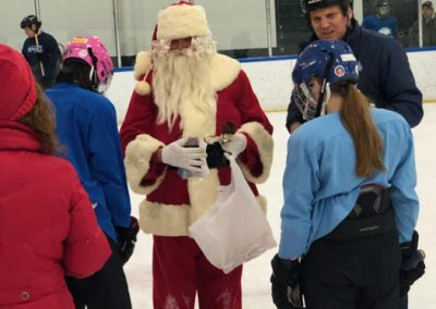 Santa chatting with players